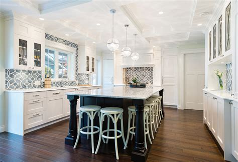 Decorating Ideas For Blue And White Kitchen White Kitchen With Blue Gray Backsplash Tile Home Bunch