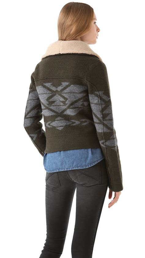 Jacket 02021664 Green Aztec Pattern lyst twelfth cynthia vincent aztec moto jacket in green