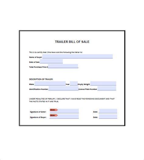 trailer bill of sale 8 free sle exle format