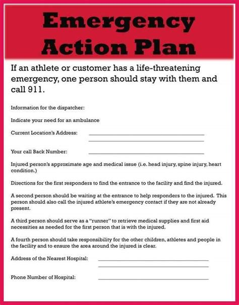 Emergency Action Plan Template Sop Exles Osha Safety Plan Template