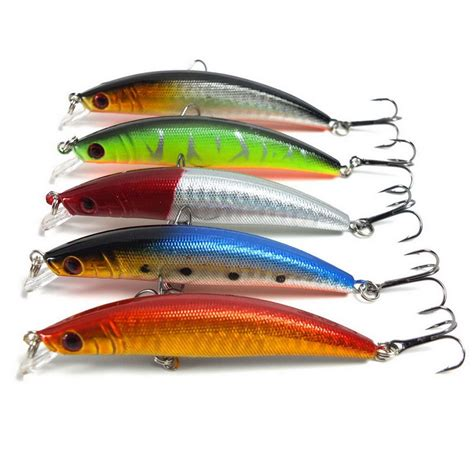 Minnow 8cm Lure Fishing Bait 3 5pcs lot 8cm 7 5g laser minnow fishing lures pesca carp bait 3 15 quot 5 colors artificial bait