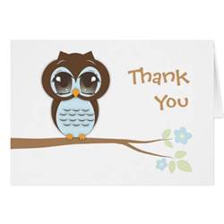 baby owl in blue thank you card zazzle