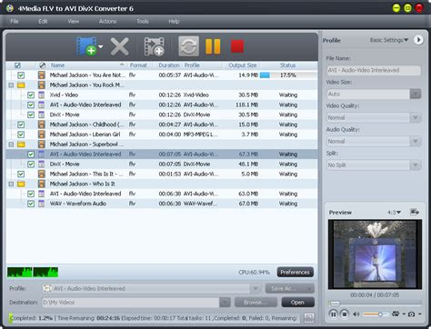 best divx converter 4media flv to avi divx converter 6 0 12 1022 screenshot