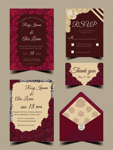 Wedding Invitation Card Suite With Flower Templates by Wedding Invitation Card Suite With Flower Templates