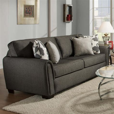 corinthian couch contemporary stationary sleeper sofa with tapered roll