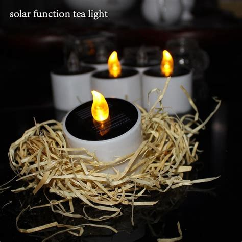 solar led tea lights set of 6 yellow solar power led candles flameless
