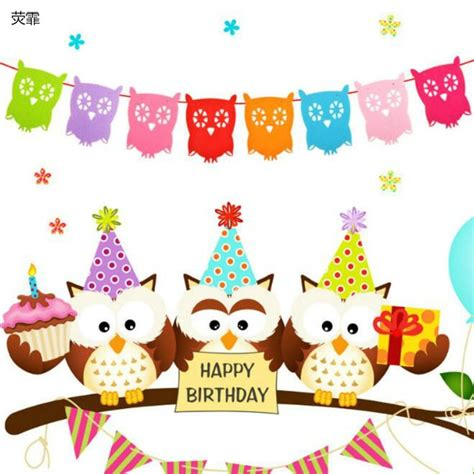 Banner Flag Animal Ulang Tahun 1 set owl garland birthday banners
