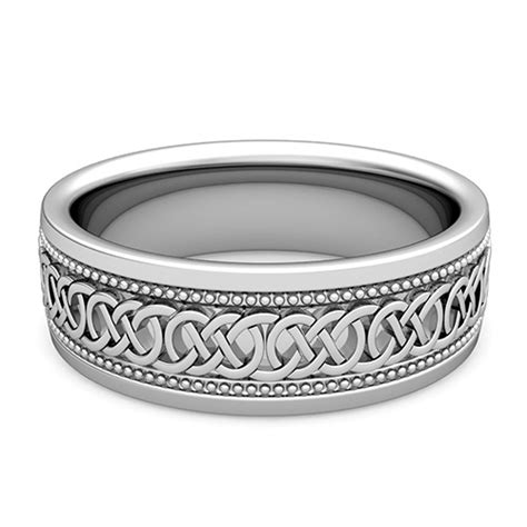 mens celtic knot wedding band in platinum milgrain comfort