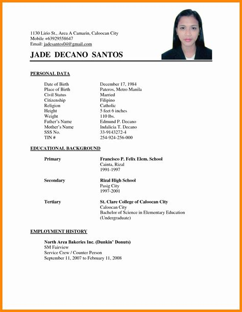 11 resume sle format philippines malawi research