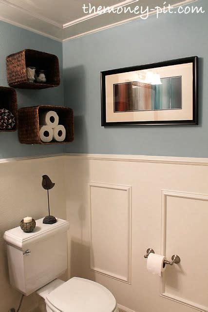 powder room shelves turn baskets into open shelves powder bath and upcycling