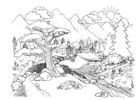 coloring pages for adults landscapes landscape coloring pages for adults az coloring pages