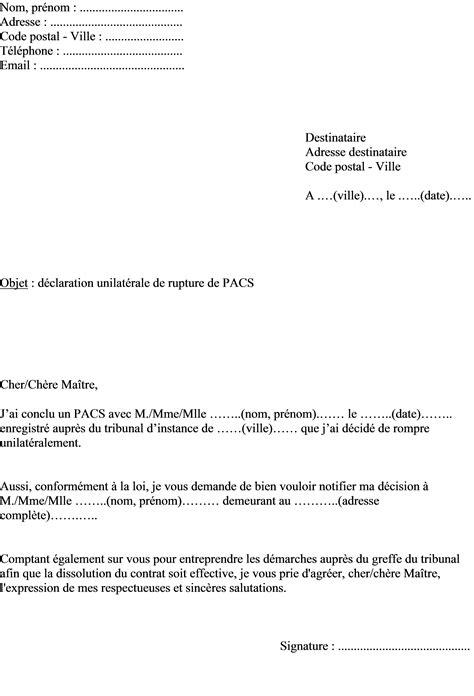 Lettre De Motivation De Huissier mod 232 le de lettre signification rupture unilat 233 rale de pacs