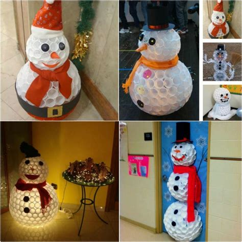 how to mske christmas ornaments with plastic cups creative winter craft diy snowman made from plastic cups diy crafts