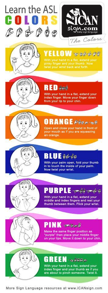 sign language for colors asl colors chart yellow orange blue purple pink