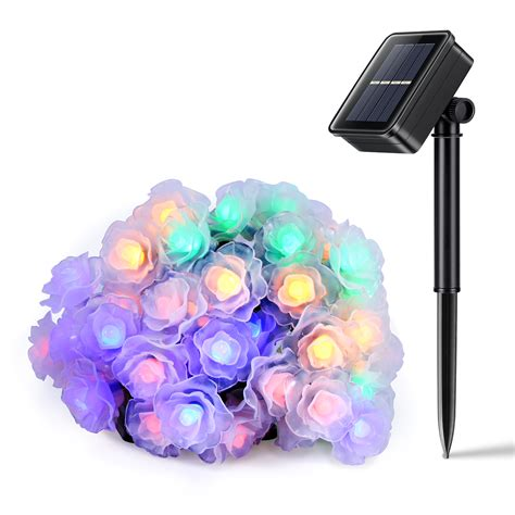 26ft 50led Rose Blossom Multi Color Solar Fairy String Multi Color Solar Lights