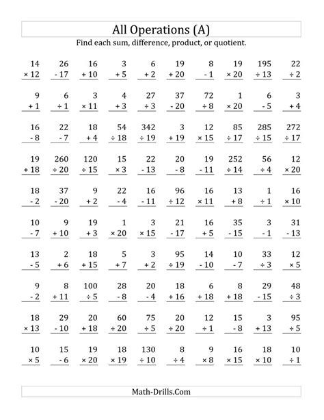 Basic Math Facts Worksheets by Timed Addition Fact Practice Worksheets All Operations