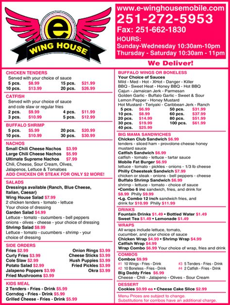 Wing House Menu by E Wing House Mobile Al 36609 Yellowbook
