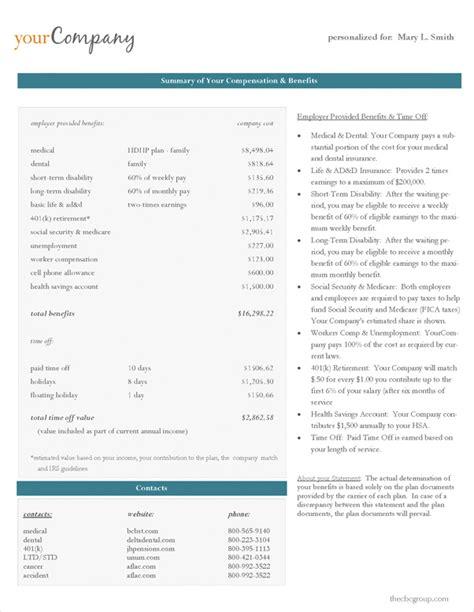 total rewards statement template on demand statements