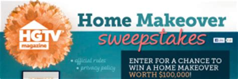 hgtv magazine home makeover sweepstakes win 100 000