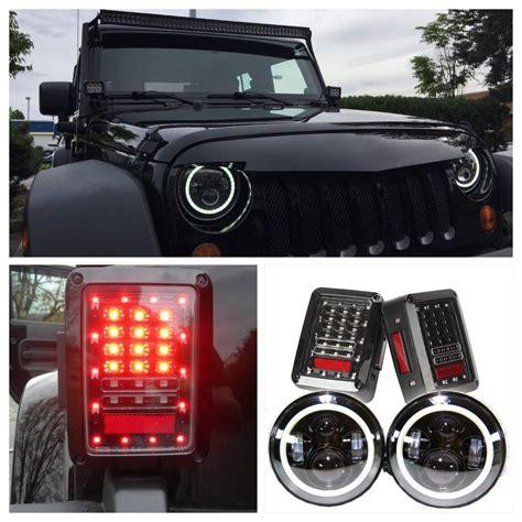 Jeep Lights Jeep Jk Headlights Projector Halo Lights Leds