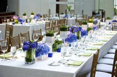 blue wedding centerpieces with rectangular table using a