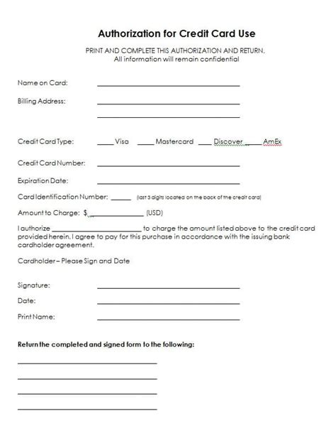 Credit Card Authorization Template by 5 Credit Card Authorization Form Templates Formats