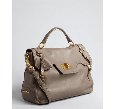 Miu Miu Flap Pocket Tote by Lyst Miu Miu Clay Leather Turnlock Flap Top Handle Bag