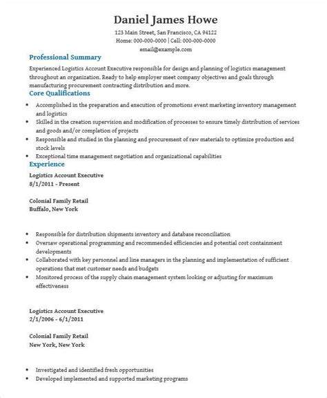 Logistics Account Executive Sle Resume by 30 Executive Resume Designs