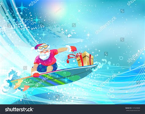 santa on surfboard santa claus on surfing board delivering gift happy holidays vector eps 10