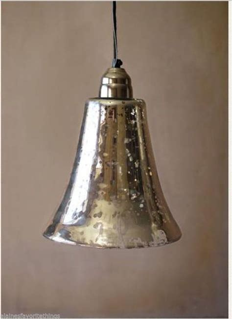 shabby vintage chic mercury glass bell shaped pendant light