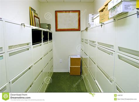 Storage Room With Filing Cabinets Stock Image   Image of