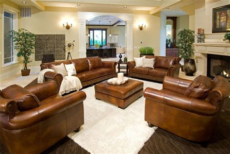 Rustic Dim Brown Leather Sofas Fantastic Expense For Warm Light Furniture For Living Room