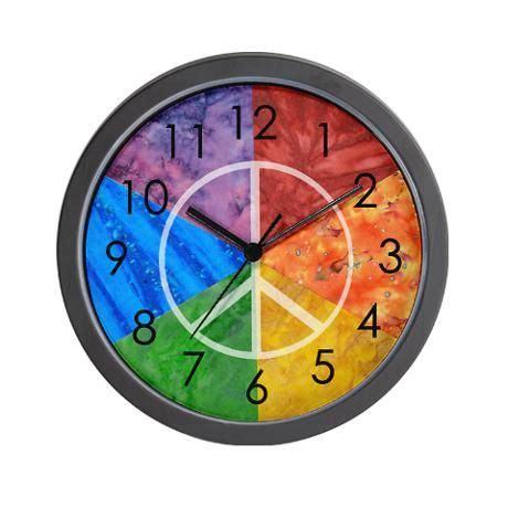 tie color wheel color wheel peace sign wall clock peace signs color