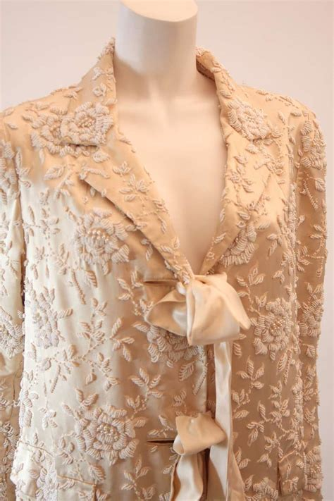 Floral Motif Outerwear silk coat with white floral beaded motif and ribbon tie closures for sale at 1stdibs