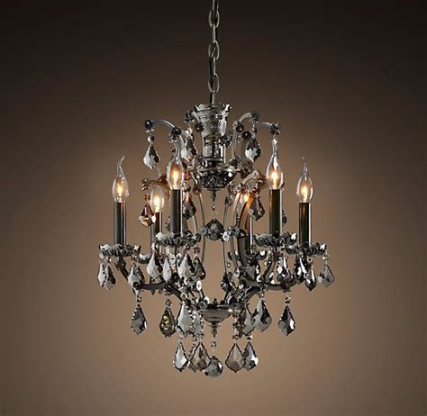 19th C Rococo Iron Crystal Chandelier Smoke Restoration Chandeliers