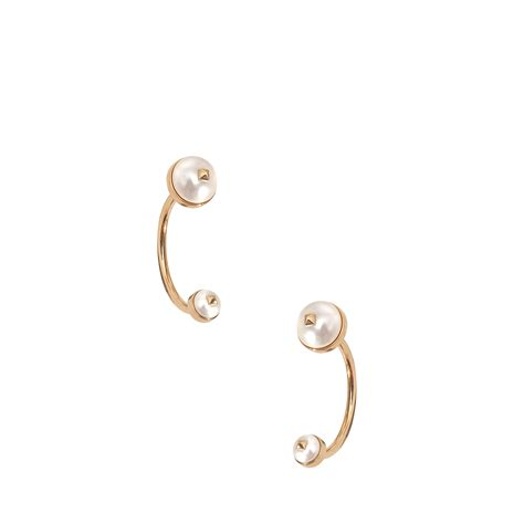 valentino pearls ear jacket earring in gold lyst