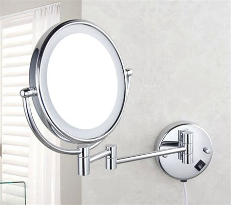 2015 Bathroom Wall Mount Lighted Dual Sided Makeup Mirror Bathroom Mirror Wall Mount