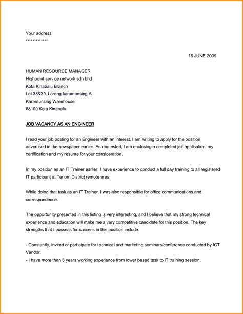 Formal Letter Vacancy 6 Formal Letter Applying For A Financial Statement Form