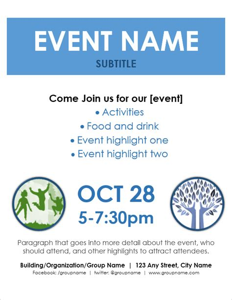 templates for event flyers event flyer template for word