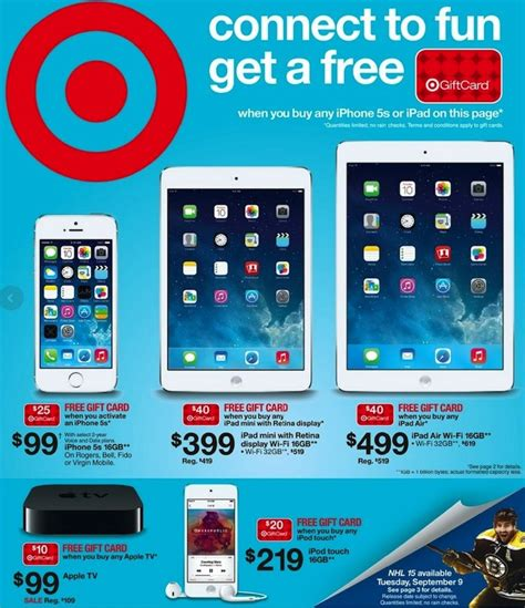Apple Gift Card On Sale - apple sales at target retina ipad mini ipad air apple tv plus bonus gift cards