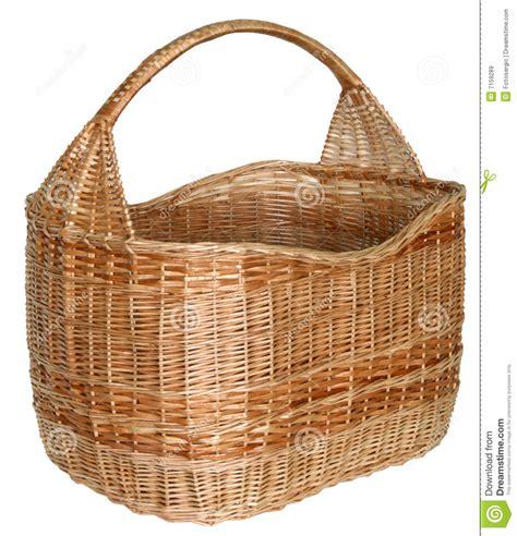 Handmade Wicker Baskets - isolated handmade wicker basket 1 royalty free stock