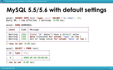 default date format of mysql query optimization with mysql 5 7 and mariadb 10 even