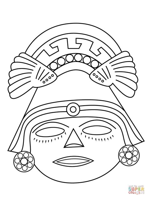 aztec mask template aztec mask coloring page free printable coloring pages