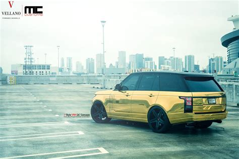 gold chrome range rover tuningcars golden range rover on 24 vellano wheels