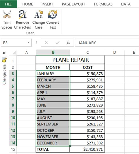 format excel uppercase change case in excel to uppercase lowercase etc