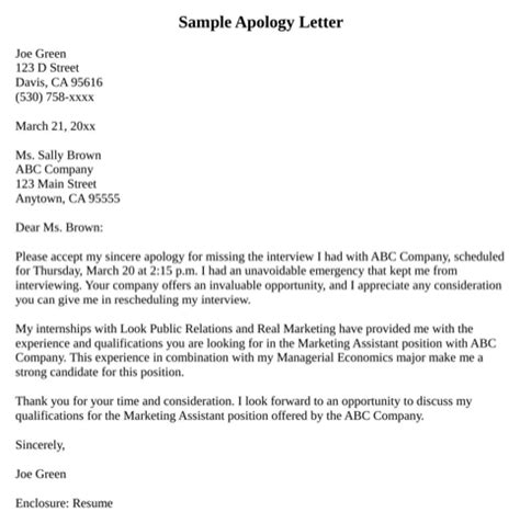 Apology Letter Sle Late Apology Letter For Missing For Free