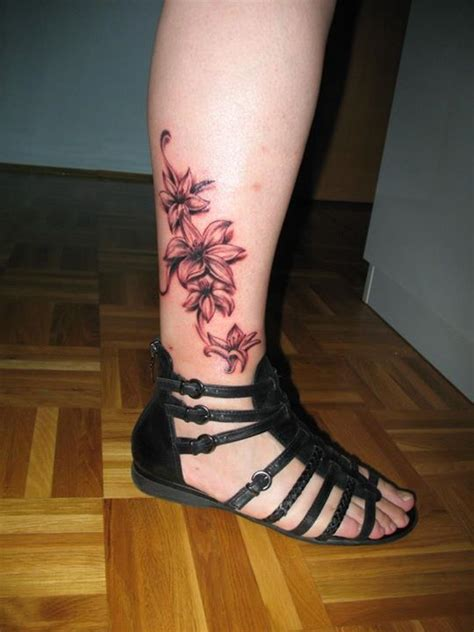 lower leg tattoo flowers tattoos on lower leg for tattooshunt