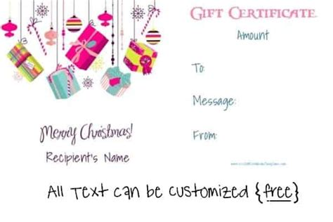 christmas gift certificate templates