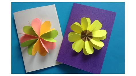 How To Make Handmade Mothers Day Cards - how to make easy flower card diy flower card template 02 by hue tran origami youtube