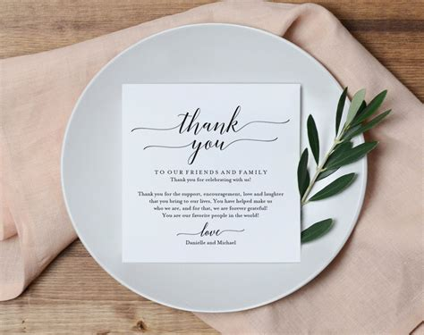 thank you cards for wedding dinner template wedding thank you card thank you printable wedding table
